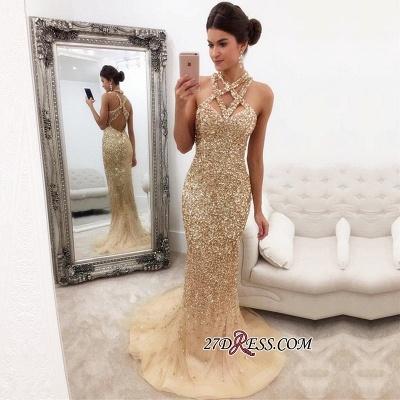Halter Mermaid Sleeveless Zipper-Back Crystals Luxury Prom Dress UK_1