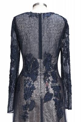 Lace-Appliques Black Long-sleeve Modern Scoop Evening Dress UK_3