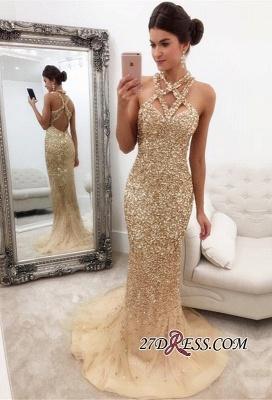 Halter Mermaid Sleeveless Zipper-Back Crystals Luxury Prom Dress UK_2