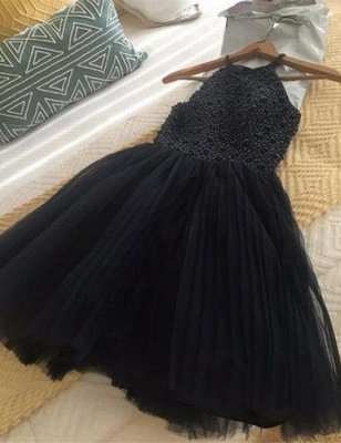 Sexy Halter 2019 Homecoming Dress UK | Tulle Beadings Short Prom Dress UK_3