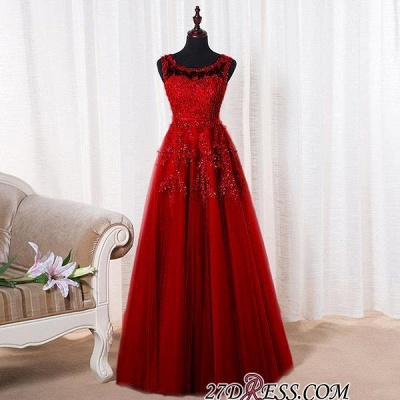 Bateau-Neck Lace Red A-line Beaded Long Party Dress UKes UK_13