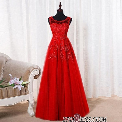 Bateau-Neck Lace Red A-line Beaded Long Party Dress UKes UK_12