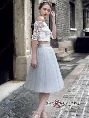 Off-the-Shoulder Elegant Knee-Length Tulle Lace Homecoming Dress UK_2