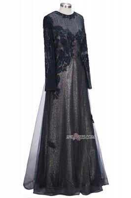 Lace-Appliques Black Long-sleeve Modern Scoop Evening Dress UK_4