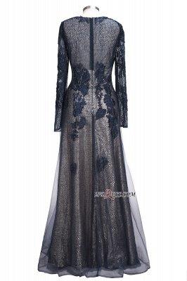 Lace-Appliques Black Long-sleeve Modern Scoop Evening Dress UK_5