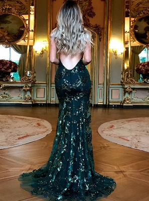 Green Sequins Prom Dress UK   Mermaid Evening Gowns Backless_3
