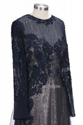 Lace-Appliques Black Long-sleeve Modern Scoop Evening Dress UK_2