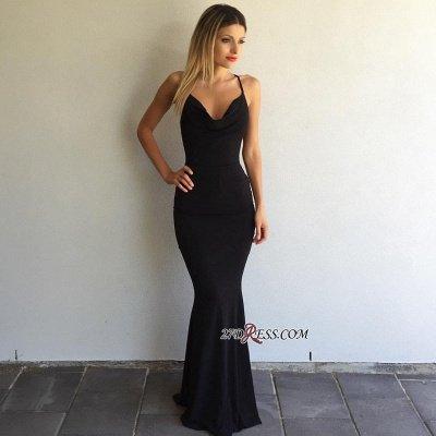 Black Sleeveless Elegant Spaghetti-Strap Cross-Back Mermaid Prom Dress UK sp0248_1