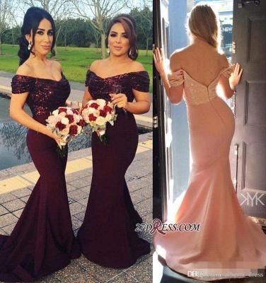 Long Mermaid Off-The-Shoulder Sequins Sleeves Short Prom Dress UK_2