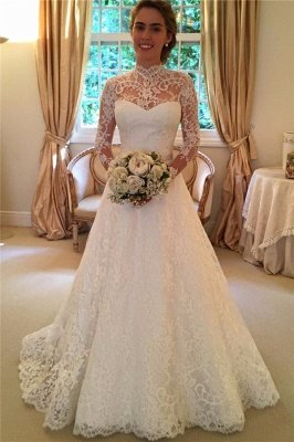 Elegant Lace A-line Wedding Dress Long Sleeve High Neck_2