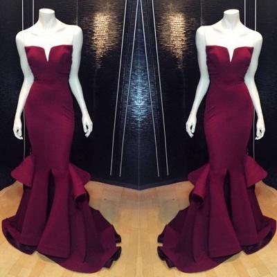 Elegant V-neck Sleeveless Mermaid Prom Dress UK With Ruffles_2