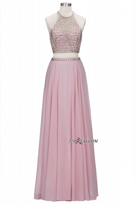 Pink Crystals Floor-length A-line Two-piece Delicate Evening Dress UK_6