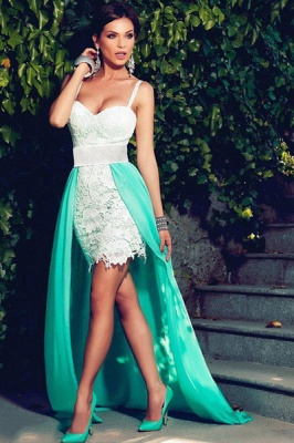 Gorgeous Spaghetti Straps Sleeveless Prom Dress UK Chiffon Lace Hi-Lo Party Gowns_1