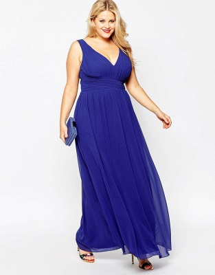 Modern V-neck Sleeveless Chiffon Plus Size Prom Dress UK_4