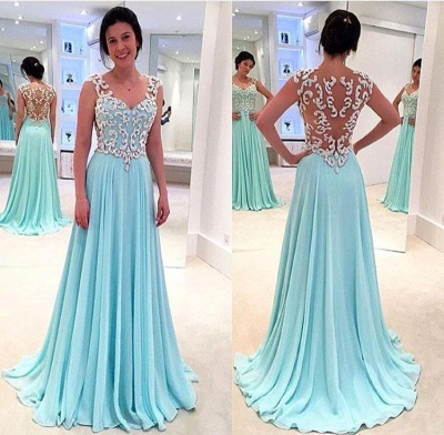Newest Lace Appliques Chiffon Prom Dress UK A-line Straps_2