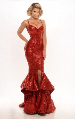 Elegant Mermaid Sequins Evening Dress UK Spaghetti Straps Party Gown_3