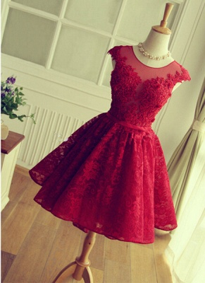Delicate Red Lace Appliques Homecoming Dress UK Mini Cap Sleeve_1
