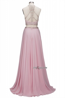 Pink Crystals Floor-length A-line Two-piece Delicate Evening Dress UK_4