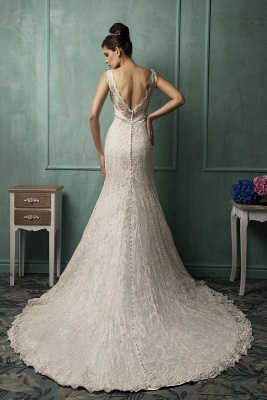 Illusion Sleeveless Sexy Mermaid Wedding Dress With Lace Zipper_2