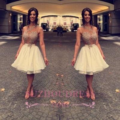 Beaded A-Line Appliques Short Chiffon Lace Sleeveless Homecoming Dress UK_1