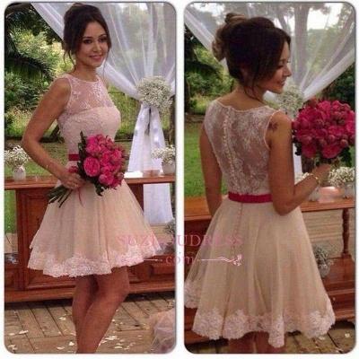 A-line Sleeveless Jewel Mini Sexy Lace Homecoming Dress UK_1