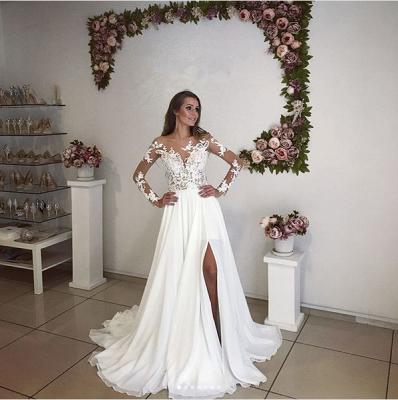 Elegant Long Sleeve Lace Wedding Dress  With Split_3