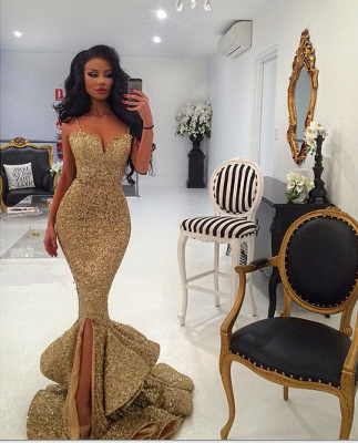 Elegant Mermaid Sequins Evening Dress UK Spaghetti Straps Party Gown_2