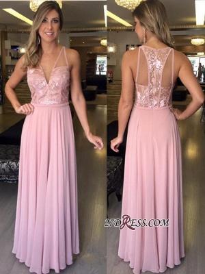 Pink A-Line Chiffon Long V-Neck Lace Sleeveless Prom Dress UKes UK_1