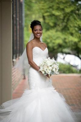 Gorgeous Sweetheart Sexy Mermaid Wedding Dress Tulle Zipper Back_1