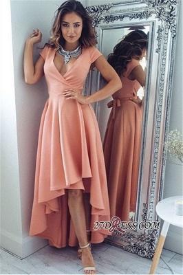Short-Sleeves Elegant Hi-Lo A-Line V-Neck Prom Dress UKes UK qq0321_3