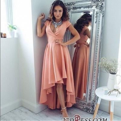 Short-Sleeves Elegant Hi-Lo A-Line V-Neck Prom Dress UKes UK qq0321_2
