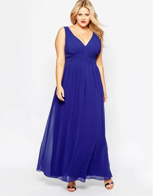 Modern V-neck Sleeveless Chiffon Plus Size Prom Dress UK_5