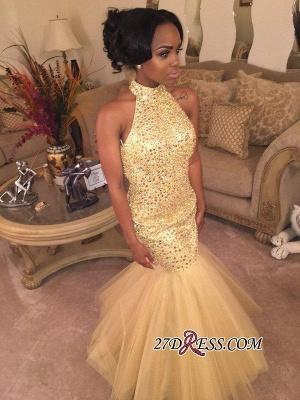 Mermaid Shiny Halter Sequins Open-Back Champagne-Gold Sleeveless Prom Dress UK BK0_2