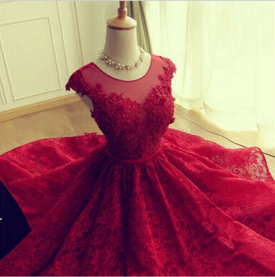 Delicate Red Lace Appliques Homecoming Dress UK Mini Cap Sleeve_4