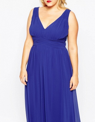 Modern V-neck Sleeveless Chiffon Plus Size Prom Dress UK_3