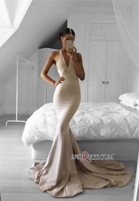 Halter Mermaid Long Elegant V-neck Sleeveless Prom Dress UK SP0309_3