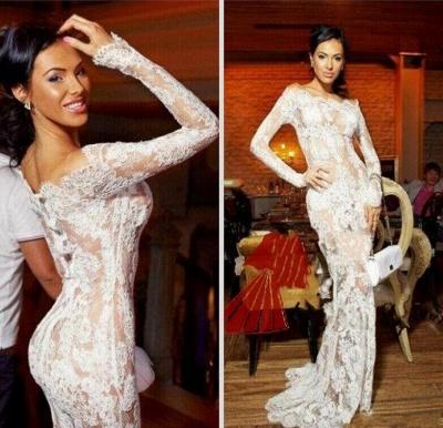 Elegant Illusion White Lace Prom Dress UKes UK Mermaid Long Sleeve_3
