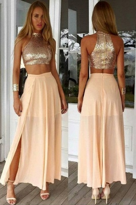 Newest Sequined Two Piece Prom Dress UK Front Split Floor-length BA3375_1