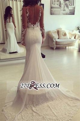 Sheer Appliques Sexy Mermaid Long-Sleeves Elegant Wedding Dresses UK qq0006_3