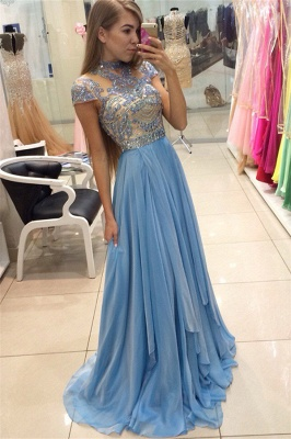 Delicate Beadings Chiffon A-line Prom Dress UK Cap Sleeve Sweep Train BA3824_1