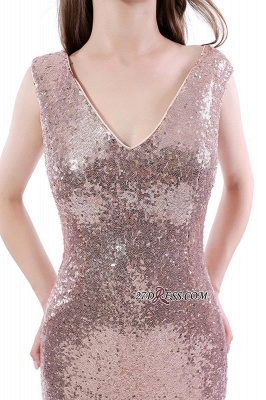 Mermaid V-Neck Simple Sequins Long Evening Dress UKes UK_5