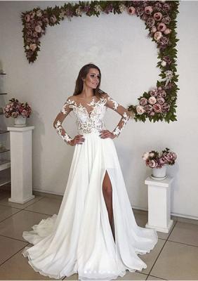 Elegant Long Sleeve Lace Wedding Dress  With Split_1