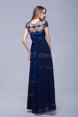 Modern Illusion Cap Sleeve Evening Dress UK Chiffon Lace Bowknot_5