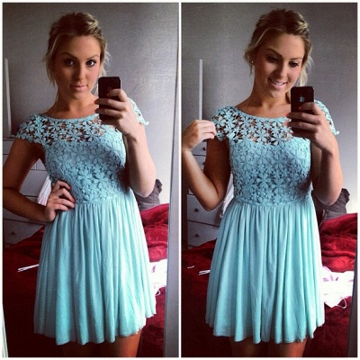 Lovely Cap Sleeve Lace Homecoming Dress UK Short Party Gowns BA3719_3