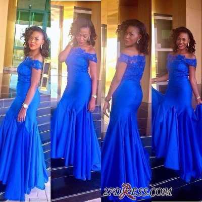Royal Blue Mermaid Newest Off-the-Shoulder Lace Prom Dress UK_1