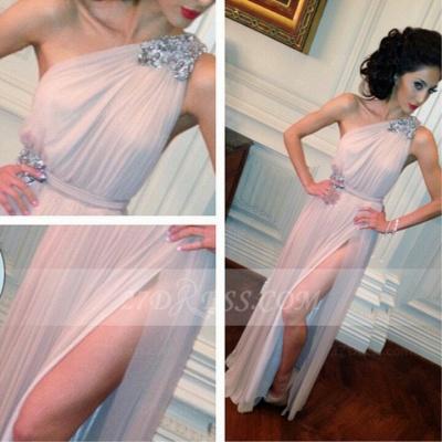 Sleeveless One Shoulder Side Slit Evening Dress UKes UK Crystal Sash Floor Length Prom Dress UKes UK_2