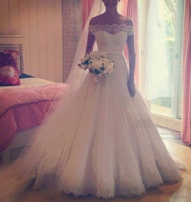 New Arrival Lace A-Line Princess Wedding Dress Tulle Off The Shoulder Bridal Gowns_1