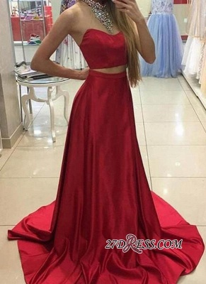 A-line Simple Sleeveless Long Red Two-Piece Prom Dress UKes UK_2