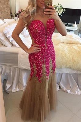 Gorgeous V-neck Mermaid Tulle Fuchsia Prom Dress UK Pearls Cap Sleeve BT0_1