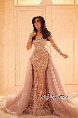Luxurious Sleeves Mermaid Long Overskirt Lace Elegant Appliques Evening Dress UKes UK BA0579_1